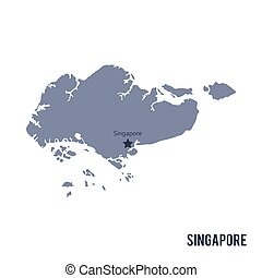 Vector map of Singapore isolated on white background.