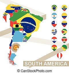 Vector map of South America with flags