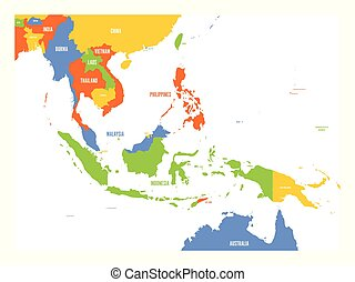 Vector map of Southeast Asia