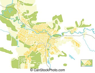 Vector map of the city. Color bright decorative background...