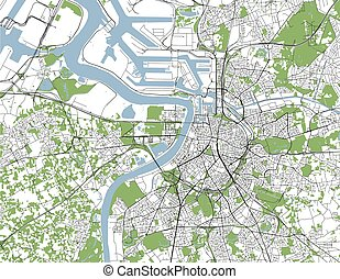 map of the city of Antwerp, Belgium - vector map of the city...