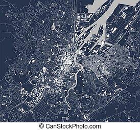 map of the city of Belfast, Northern Ireland, UK