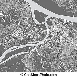 map of the city of Belgrade, Serbia