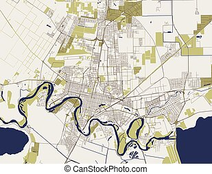 map of the city of Krasnodar, Russia - vector map of the ...