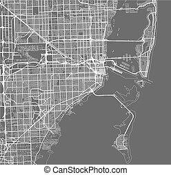map of the city of Miami, USA