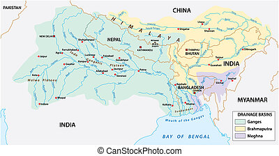 vector Map of the combined catchment areas of the Ganges,...