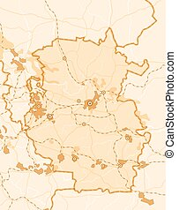 Vector Map of The Country - Map of The Country. Monochromic...