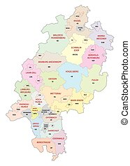 Vector map of the Hessian district with Vehicle registration plates, Germany