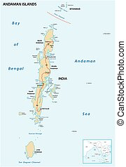 vector map of the Indian archipelago of the Andaman Islands