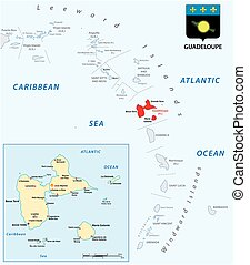 vector map of the Lesser Antilles with the Guadeloupe archipelago