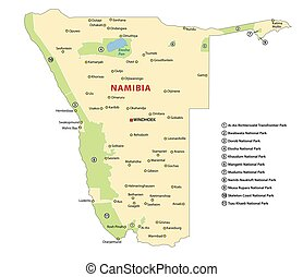 Vector map of the national parks of Namibia
