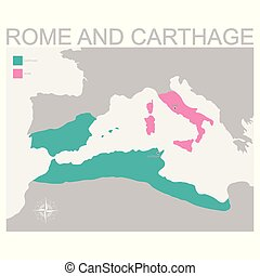 vector map of the Rome and Carthage territory