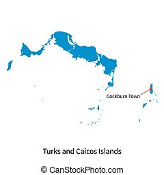 Vector map of Turks and Caicos Islands with capital city -...