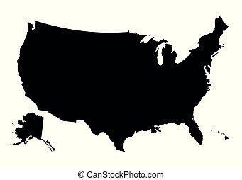 Vector map of United states isolated on white background