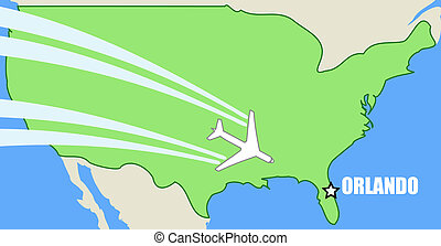 Orlando - Vector map of USA with airplane inflight to...