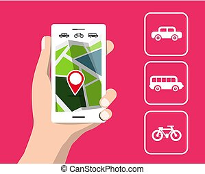 Vector Map on Cellphone. Travel by Car, Bicycle and Bus. GPS Location.