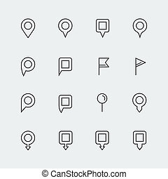 Vector map pins mini icons set, thin line