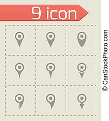 Vector map pointer icon set on grey background