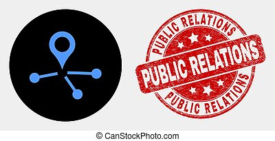 Vector Map Pointer Links Icon and Grunge Public Relations Watermark