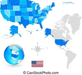 Vector Map Set of United States of America