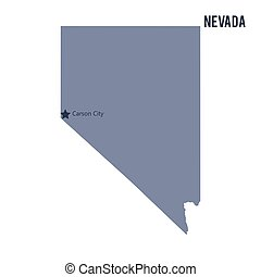 Vector map State of Nevada isolated on white background.