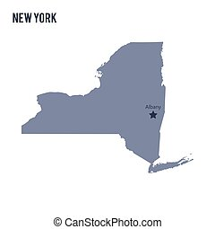 Vector map State of New York isolated on white background.
