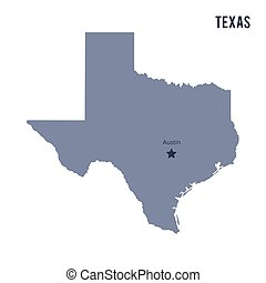 Vector map State of Texas isolated on white background....