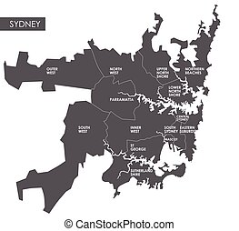 Vector map Sydney district