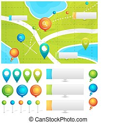 Vector map with location pointers - Vector illustration for ...