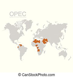 map with OPEC member states - vector map with OPEC member ...