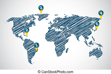 vector, mapa, con, especial, bosquejo, diseño