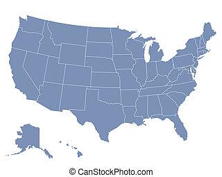 vector, mapa, de, los estados unidos de américa, cada,...