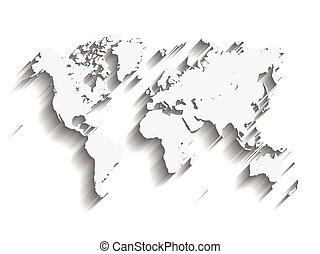 vector, mapa, de, world., moderno, plano, diseño, con, caído, largo, sombra, aislado, blanco, plano de fondo