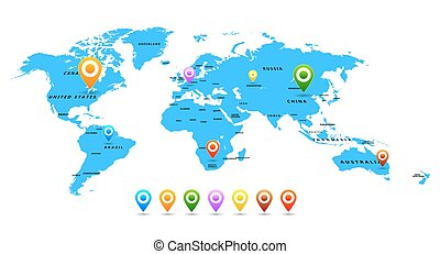 vector, mapa del mundo, con, indicadores, aislado, blanco, plano de fondo