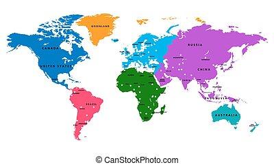 vector, mapa del mundo, con, país, y, capital