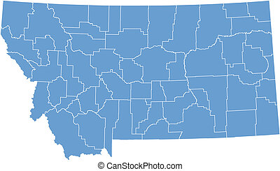 vector, mapa, montana