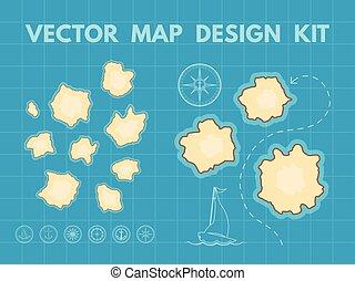 vector, mapa, tesoro, generador