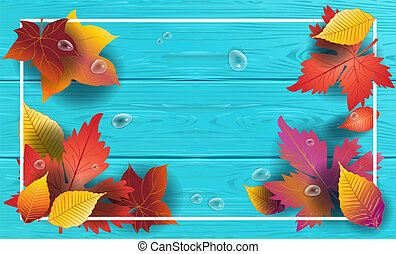 Vector maple fall leaves frame, wood background