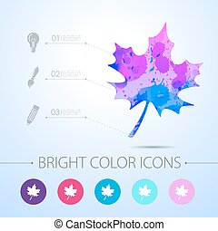 Vector maple leaf icon. with infographic elements