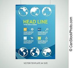 Vector maps brochure flyer design templates