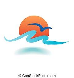 vector, mar, ondas