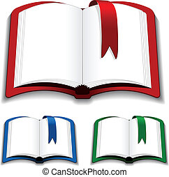 vector, marcador, libros, abierto
