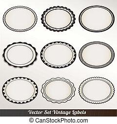 vector, marco, conjunto, ornamental, vendimia