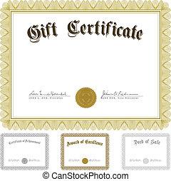 vector, marco, conjunto, premios, certificado