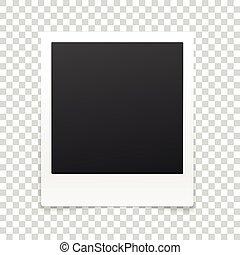 vector, marco de la foto, aislado, en, transparente, fondo.,...