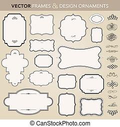 vector, marco recargado, y, ornamento, conjunto