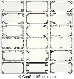 vector, marcos, fronteras decorativas, rectángulo, conjunto