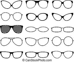 vector, marcos, gafas de sol, silhouettes., moda, negro, geek, hipster, iconos, eyewears., conjunto, glasses., mujer hombre, anteojos, spectacles.