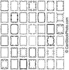 vector, marcos, y, fronteras, colección, conjunto