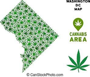 Vector Marijuana Collage Washington DC Map